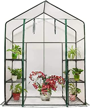 "Quictent Mini Walk-in Greenhouse 3 Tiers 6 Shelves Plants Garden Green House for Indoor Outdoor 56""x29""x77""- 50 Pcs Plant T-T"