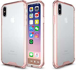 ITEUU Phone Case for iPhone Xs Heavy Duty Anti-Knock Shockproof Transparent Air Cushion Acrylic Back Cover for iPhone X (Pink)