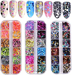 36 Color Nail Sequins, Kalolary Nail Art Flake Nail Glitter Paillette Mixed Round Thin Shining, 3D Nail Art Stickers Manicure Make Up DIY Decals Decoration