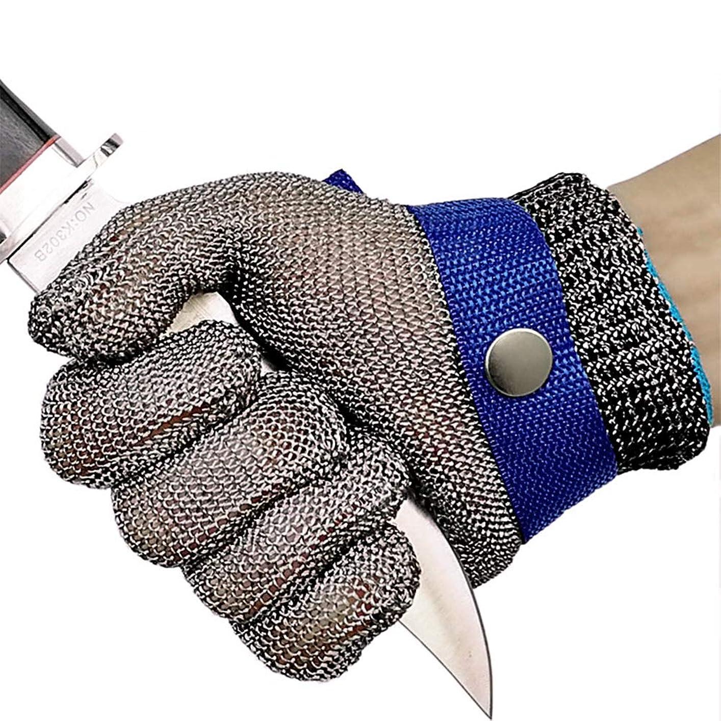 ジャンルスツールベッドを作るLinodes 耐切創 作業用手袋 ステンレス鋼メッシュ防護手袋 切れない グローブ(片手)左右 兼用 専用軍手 付き L