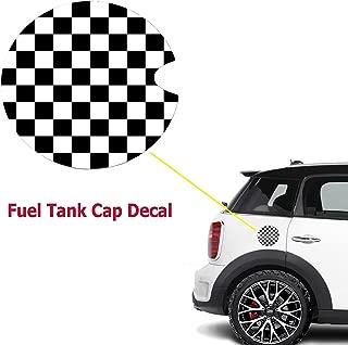 Ultra Thick Black White Checkered Racing Flag Pattern Plastic Vinyl Sticker For Mini Cooper Gas Cap Cover
