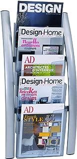 Alba 5 Pocket Wall Literature Rack, Metallic Silver (DDICE5M)