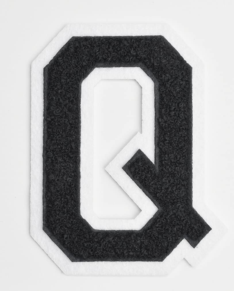 Varsity Letter Patches - Black Embroidered Chenille Letterman Patch - 4 1/2 inch Iron-On Letter Initials (Black, Letter Q Patch)