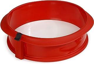 Lékué Moule Rond Démontable 23 cm Assiette en Céramique Rouge Duo