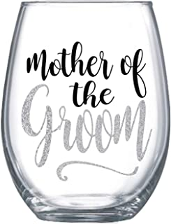 Mother of the groom gifts from daughter Stemless wine glass gift Glitter design for mom #92