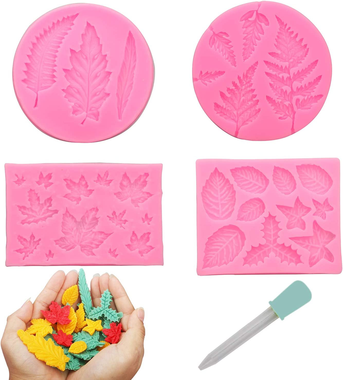 MILIVIXAY 4pcs/set Leaf Molds,Maple Leaves Jelly Mold, Fern Leaves Silicone Molds for Fondant, Soap Embed Molds, Wax Embeds,clay Mold, Wax Melts Molds,candy Mold for Cake Cupcake Topper Decorations .