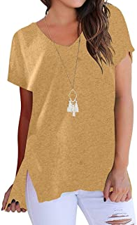 LOFBAZ Women's Short Sleeve High Low Loose T Shirt Basic Tops Tee with Side Slit