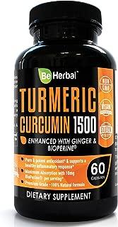 BE HERBAL Premium Organic Turmeric Curcumin with Bioperine 1500mg - The Most Potent Turmeric Curcumin Supplement with 95% Standardized Curcuminoids - Enhanced with Ginger Extract - 60 Veg Capsules