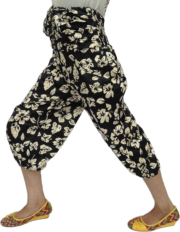 Elegant Floral Printed Gathered Smocked Waist Adjustable String Rayon Capri Pant Black