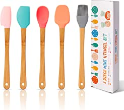 Mini Silicone Spatula Set of 5, KSENDALO Mini Spatula, Mini Basting Brush, Mini Half Spreader, Mini Spoon and Mini Pointed...
