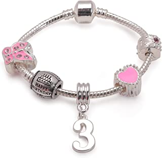 Liberty Charms Childrens Pink Happy 3rd Birthday Silver Plated Charm Bracelet Jewellery Gift for 3 Year Old Girls. Present with Gift Box (6in-15cm)