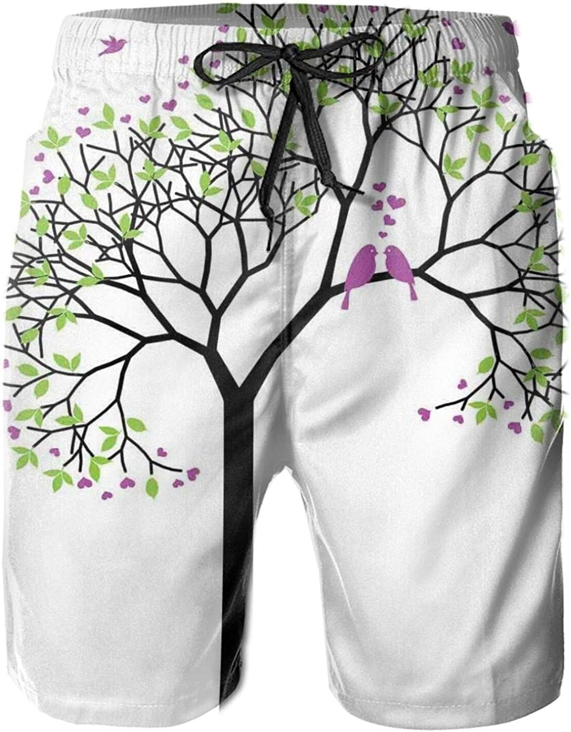 Spring Tree with Flying Love Birds Floral Branches Romance Couple Home Art Mens Swim Trucks Shorts with Mesh Lining,M