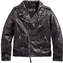 Harley-Davidson Men's Master Distressed Slim Fit Leather Biker Jacket, Black