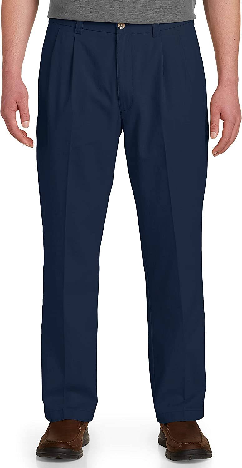 Harbor Bay by DXL Big and Tall Waist-Relaxer Pleated Pants, New Navy