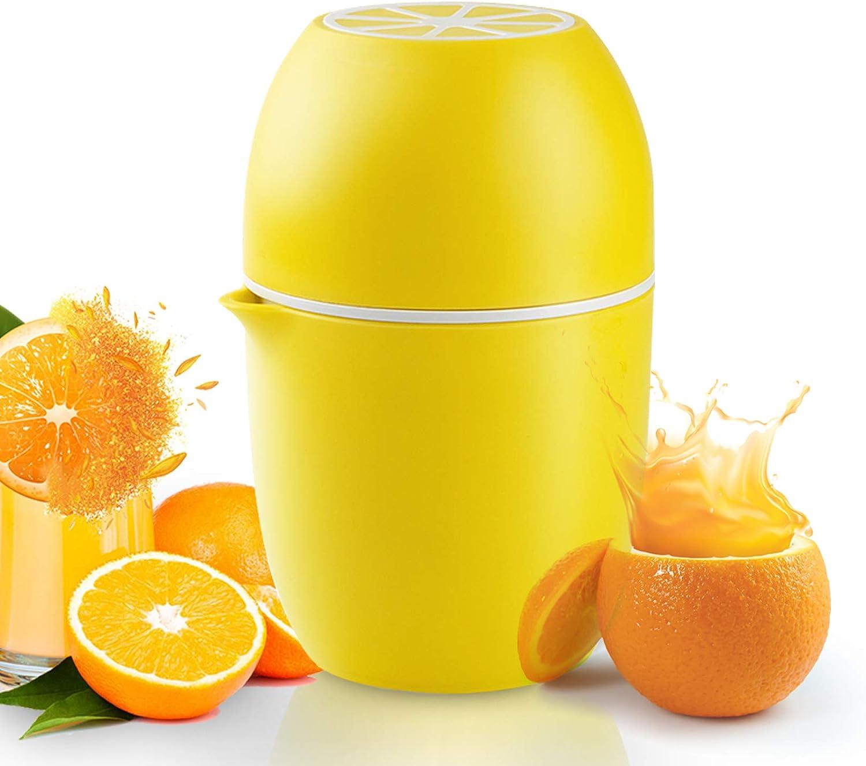 Gelb Zitronenpresse in Zitronenform Manueller Entsafter mit zwei Pressm/öglichkeiten f/ür verschiedene Fr/üchte Entsafter 4 in 1 Handpresse tragbar Obstpresse