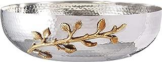 Elegance Golden Vine Hammered Salad Bowl, 12-Inch, Silver/Gold