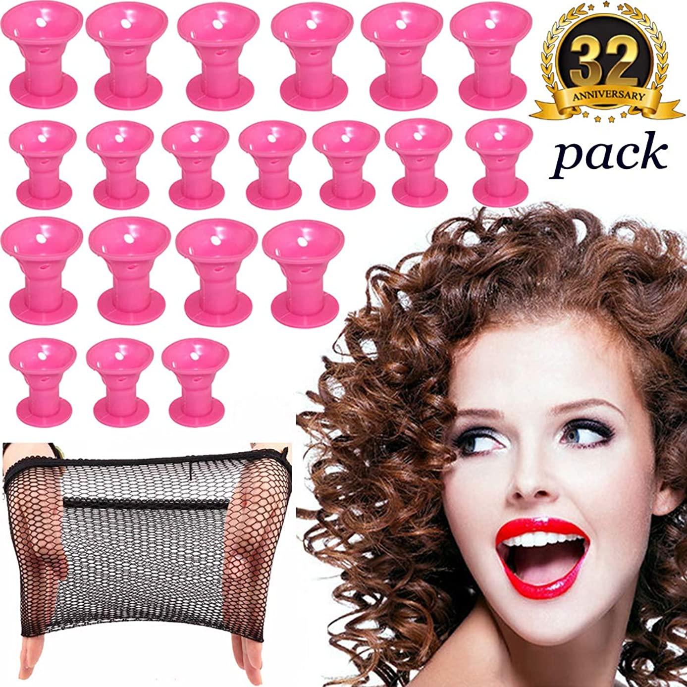 Hair Curlers Rollers Silicon Hair Style Rollers Soft Magic DIY Hair Style Tools with Nat Cap set