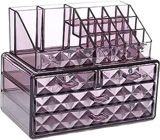 Ikee Design Acrylic Purple Diamond Pattern Jewelry & Cosmetic Storage Display Boxes Two Pieces Set.