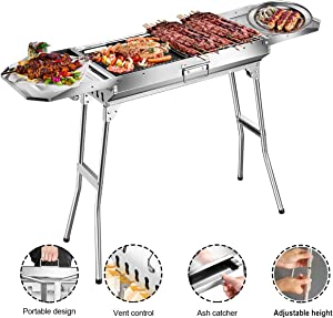 Goozegg Portable Charcoal Grill 44-Inch Heavy-Duty Stainless Steel Barbecue Folding Camping Grill for Outdoor, Backyard, Patio, Picnic, Park
