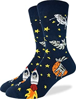 Good Luck Sock Men's Space Cat Crew Socks - Blue, Shoe Size 7-12