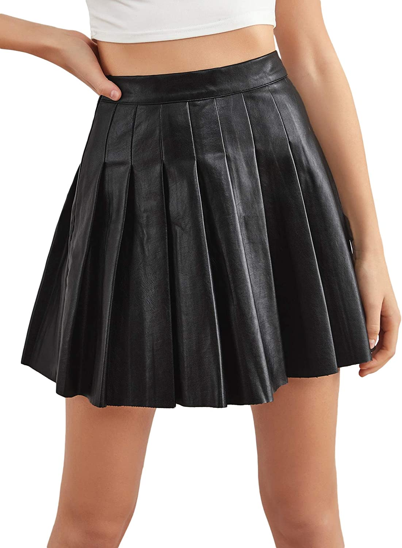 Milumia Women PU Leather Pleated Mini Skirt High Waisted Solid Skater Tennis Skirt