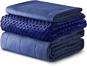 YnM Weighted Blanket and Duvet Covers — Hot and Cold Duvet Cover Set (3 Pieces) — (Navy, 60''x80'' 15lbs), Suit for One Pe...
