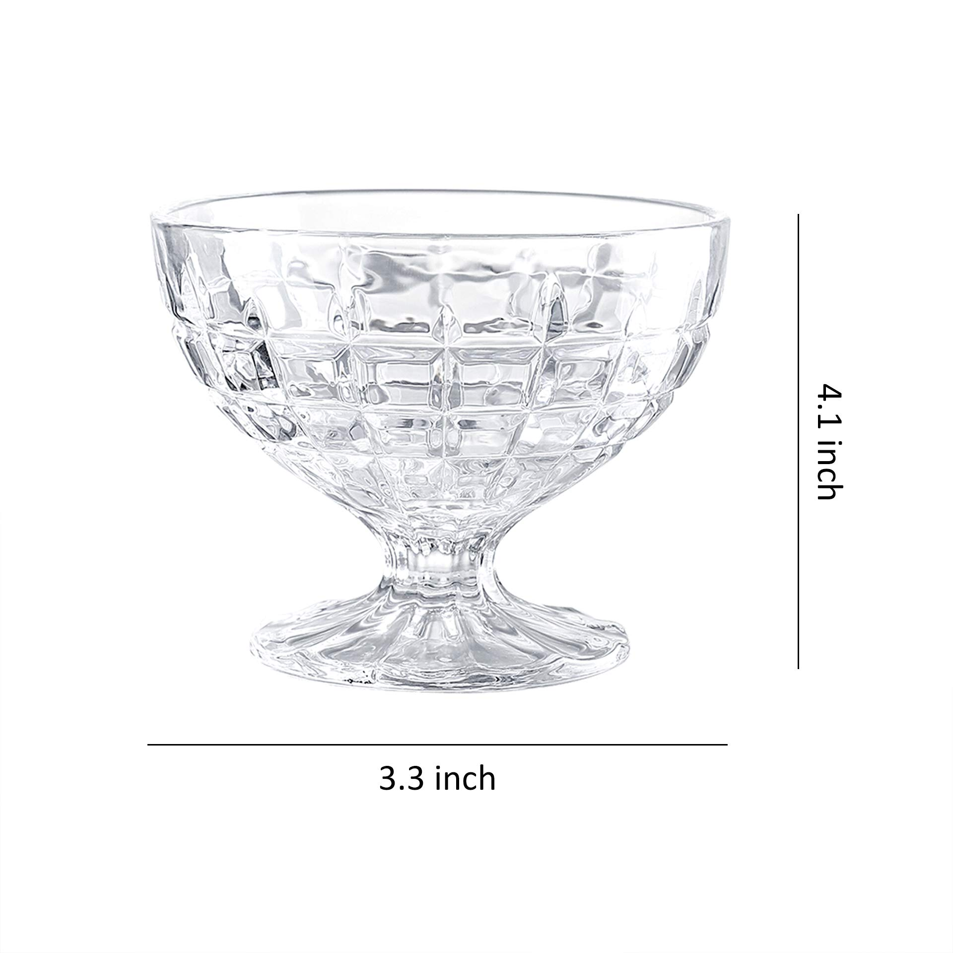 8 Oz Glass Dessert Appetizer Bowl Set of 4