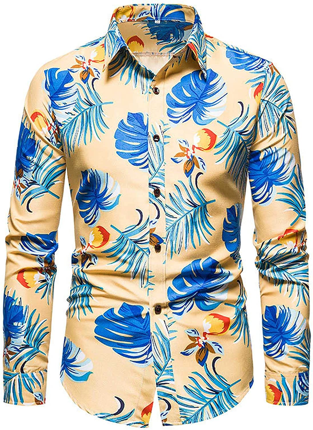 Mens Buttons Up Shirts Lapel Floral Printed Dress Shirts Long Sleeve Casual Flower Printed Shirts