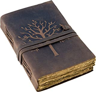 Vintage Leather Journal Tree of Life - Leather Bound Journal - Antique Paper - Beautiful Embossed Tree Leather Sketchbook ...