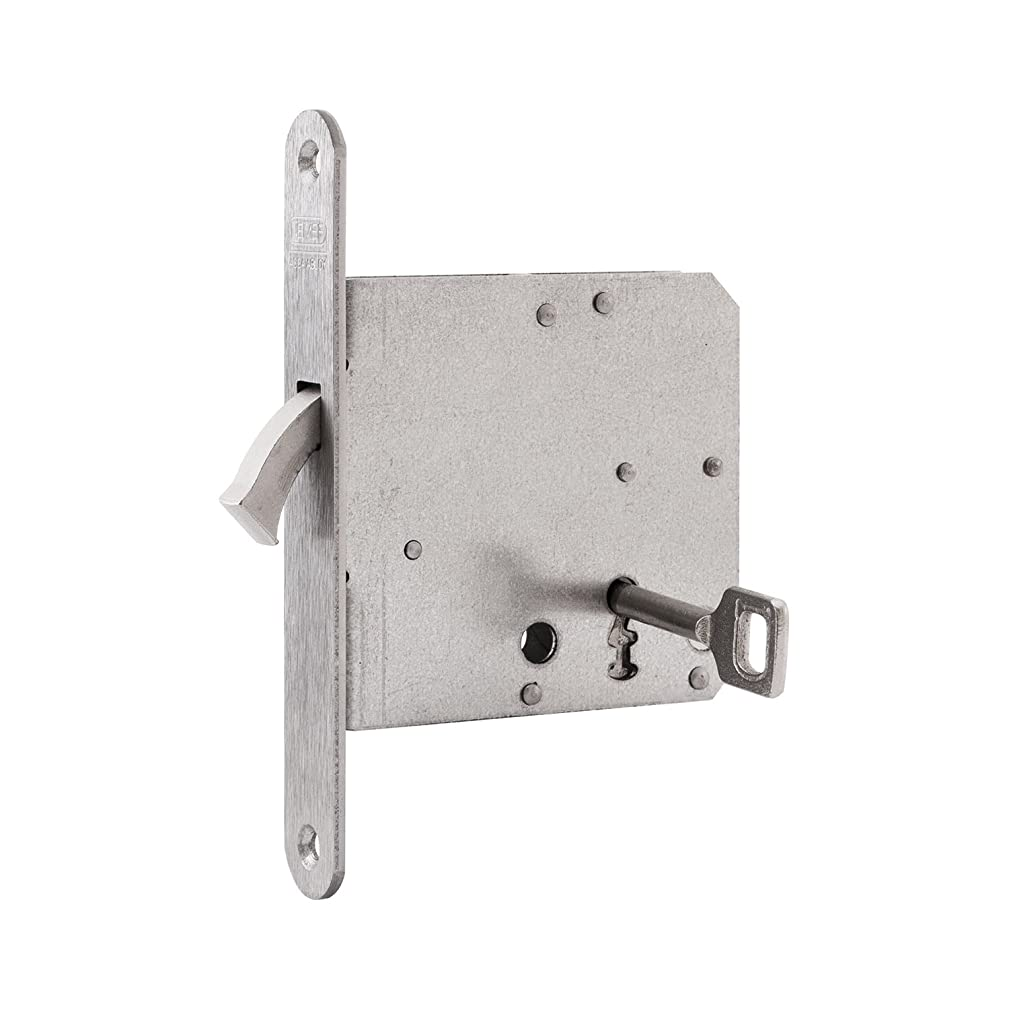 Nemef 9751620010?Sliding Door Lock with Bow Latch Including Strike Plate, Nickel-Plated, and Back-Set 55 mm