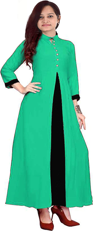 Lakkar Haveli Indian Womens Long Dress Teal Color Party Wear Casual Cotton Tunic Frock Suit Plus Size