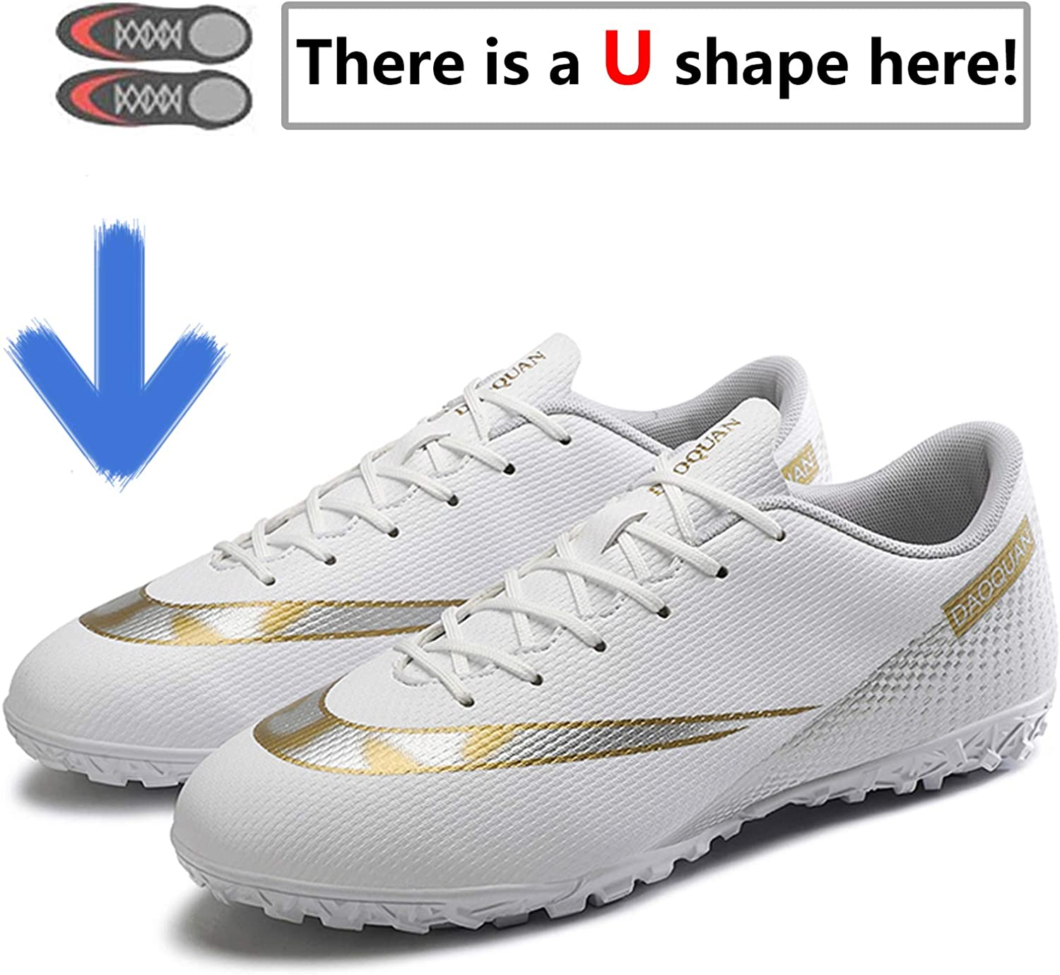 Topwolve Football Boots Mens Breathable Turf Trainers Outdoor Cleats Professional Athletics Sneakers Teens Wear-Resistence Soccer Shoes Non-Slip Unisex