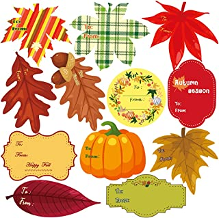 Supla 10 Sheets 120 Pcs Fall Leaf Shaped Favor Sticker Labels Autumn Leaf to & from Gift Tag Labels Stickers Favor Tags Gift Name Tags Stickers for Fall Thanksgiving Halloween Party