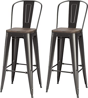 VIPEK 30 Inches Bar Stools Patio Bar Chairs Bar Height Dining Stools w Solid Wood Top Seat Set of 2 High Back Metal Barstool Side Dining Chairs Bistro Pub Cafe Kitchen, Matte Black