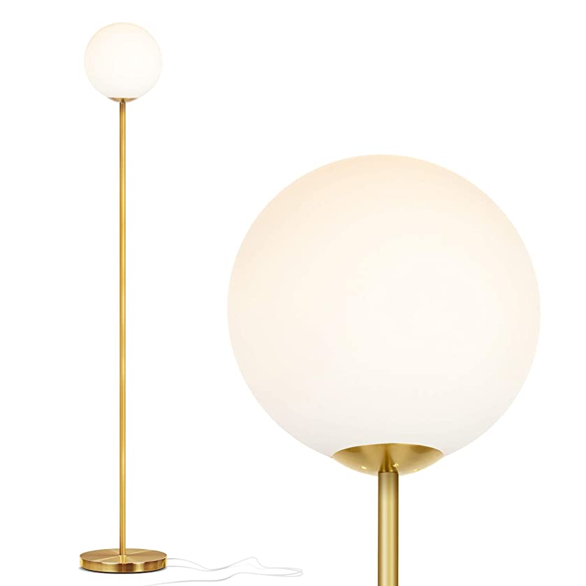 Brightech Luna - Frosted Glass Globe LED Floor Lamp - Mid Century Modern, Standing Lamp for Living Rooms - Tall Pole Light for Bedroom & Office - with LED Bulb - Antique Brass