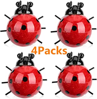 Metal Yard Decoration 4 Cute Ladybugs Garden Wall Art Decorative Set Outdoor Wall Sculptures with Hook on The Backside (4 Packs-Red)