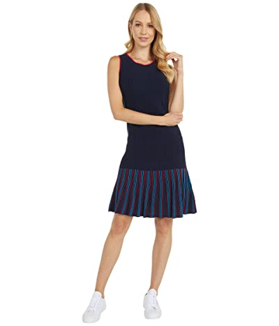 Tommy Hilfiger Adaptive Sleeveless Striped Dress with Wide Neck Opening (Masters Navy Multi) Women