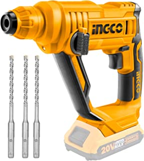 INGCO 20V Lithium-Ion Rotary Hammer Drill with 3pcs SDS-Plus Drill Bits (Body only) CRHLI1601