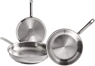 WMF Profi Set of 3 Stainless Steel Frying Pans 20 24 28 cm with Non-Stick for All Cookers Including Induction