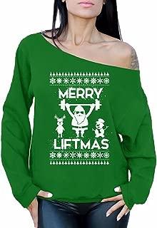 Awkward Styles Merry Liftmas Sweatshirt Merry Christmas Sweater Christmas Off Shoulder Tops
