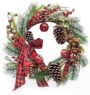 Flow.month Christmas Wreath for Door - 24 Inch Handmade Rattan Wreath with Christmas Pine Cones Red Bell Berries for Door Decor