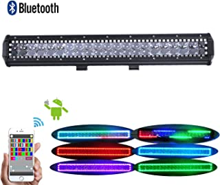 Omotor 126w 22inch Cree Led Work Light with APP Bluetooth Control RGB Halo 5D Lens Multicolor colors Over 72 Flashing Modes Driving Headlight IP68 Waterproof Off Road Lights fit for Jeep Suv Truck
