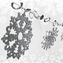 BANBERRY DESIGNS Silver Glittered Garland - 6 FT Long with Plastic Glittered Snowflakes - Snowflake Banner - Christmas Gar...