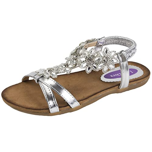 9456c77a60cb Lora Dora Womens Diamante Flower Sandals