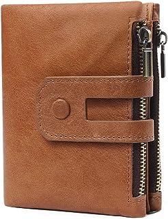 Wallets for Men Women- Retro Soft Leather Wallet Short - RFID Blocking Bifold Wallet Double Zip