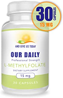 Our Daily Vites L-Methylfolate 15 mg / 15000 mcg Maximum Strength Active Folate, 5-MTHF, Filler Free, Gluten Free, Non-GMO, Vegetarian Capsules 30 Count (1 Month Supply)
