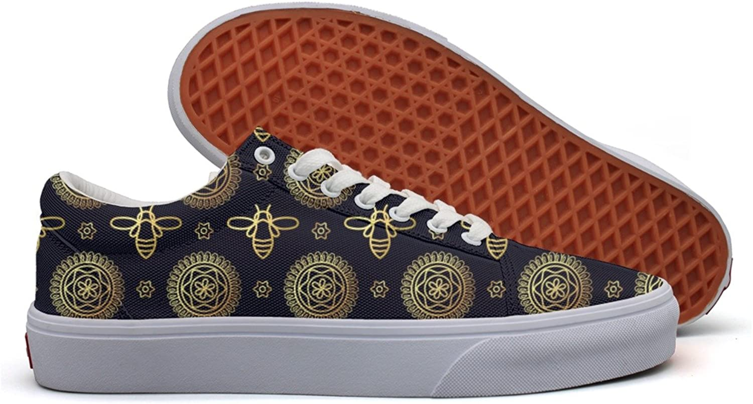 gold Bee Womens Printed Canvas Deck shoes Low Top Trendy Basketball Sneakers For Woman