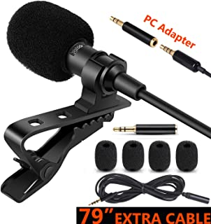 MACTREM Lavalier Lapel Microphone, 3.5 MM Shirt Mic Compatible iPhone iPad Mac Android Smartphones and Computer, Clip on Microphone for YouTube, Interview, Studio, Video, Recording