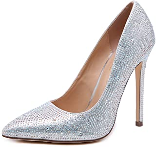 Stupmary Pointed Toe Women Pumps Crystal High Heels Studded Rhinestone Party Wedding Shoes