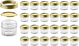Mason Jars with Glass Lids 4 oz - Nellam Small Canning Jelly Jar Wide Mouth in Quilted Crystal for Airtight Kitchen Storage, Baby Food, Party Favors - Freezer & Microwave Safe - Set of 24, Gold